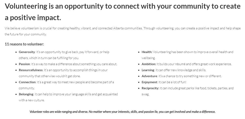 direct quote from the Volunteer Alberta website http://volunteeralberta.ab.ca/programs_services_resources/people/volunteer-opportunities/